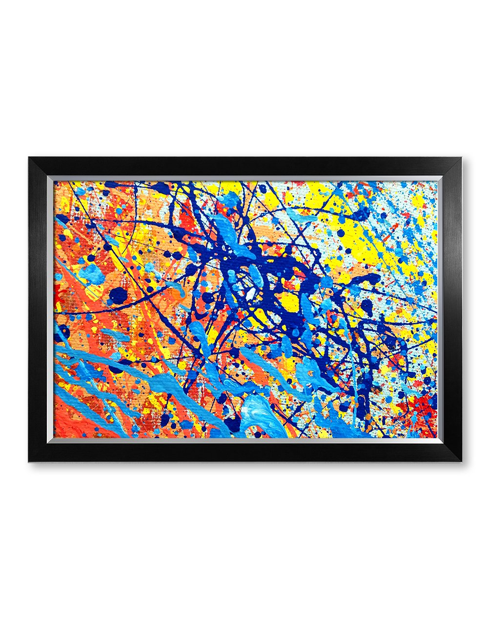 IPIC - Abstract Jackson Pollock Style Artwork. Giclee Print on Canvas Wall Art for Home Decor. Framed size: 33x23''