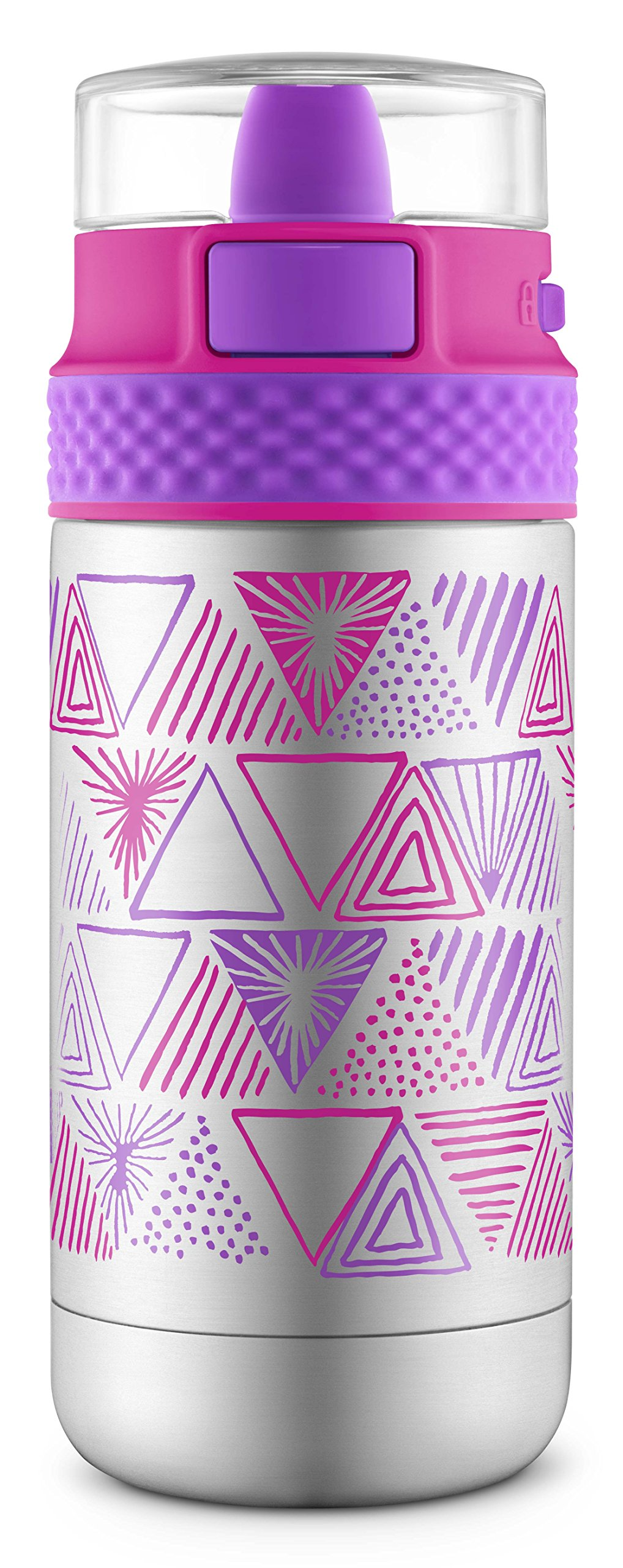 Ello Ride Stainless Steel Water Bottle, Pink/Purple, 14 oz by Ello
