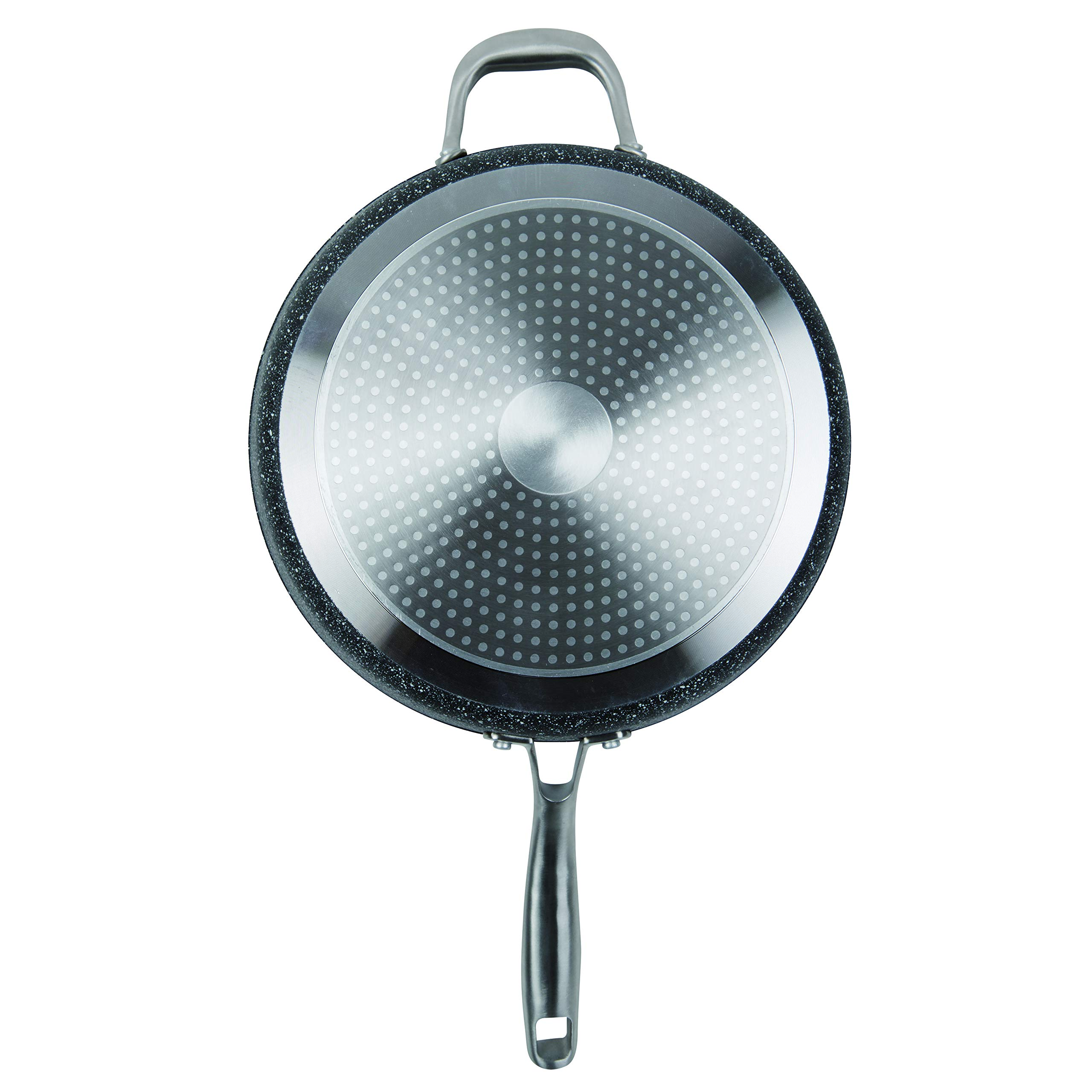 MasterPan Granite Ultra Non-Stick Cast Aluminum Sauté Pan with Glass Lid, Non-stick Frying Pan Omelette Pan, 11'', Grey, MP-134 by Master Pan (Image #5)