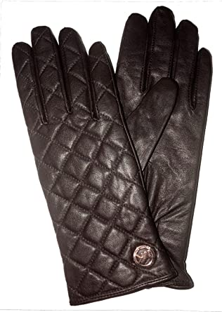 MICHAEL Michael Kors Women's Quilted Leather Gloves Size