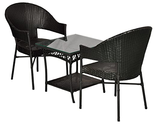 "FurniFutureâ""¢ Mr. Slim Outdoor Patio Furniture Set 2+1 - (Black)"