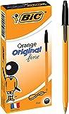 BIC Orange Fine Ball Pens (0.8 mm) - Black, Box of 12