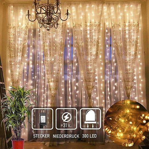 LED Lichterkette Stern LichterVorhang Fenster Baum Weihnachtsdeko Balkon Lichter