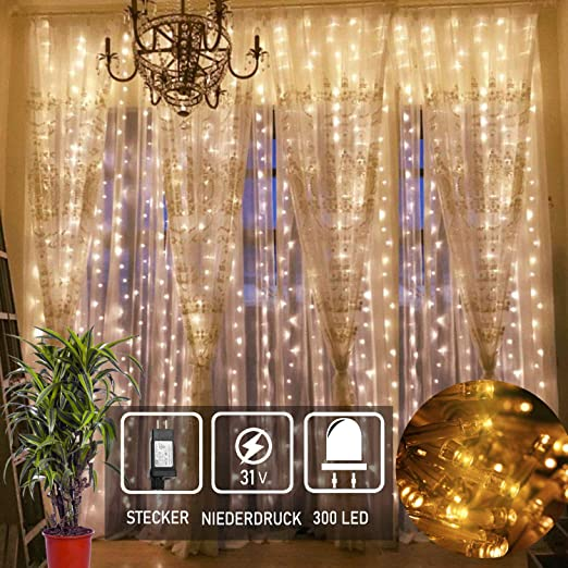 Led Lichtervorhang Fur Weihnachten 300 Leds Sterne Lichterkette
