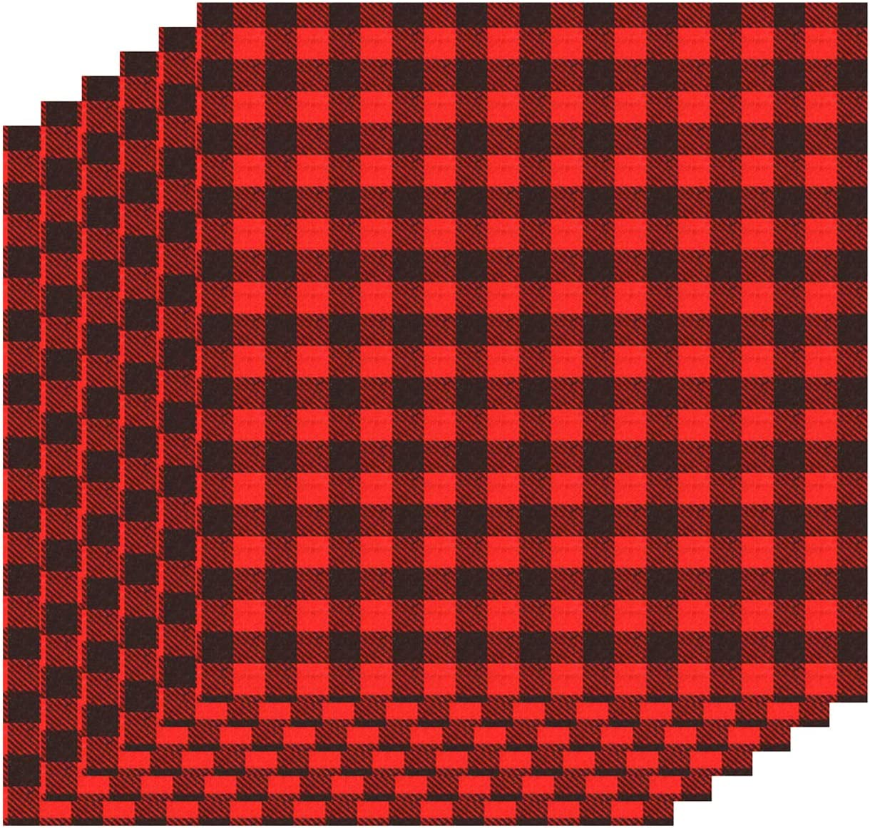 Amazon Com 6 Sheets 12 12 Inch Cloth Fabric Buffalo Plaid Printed Iron On Sheet Black And Red Plaid Adhesive Thermal Transfer Heat Transfer Cloth Sheets