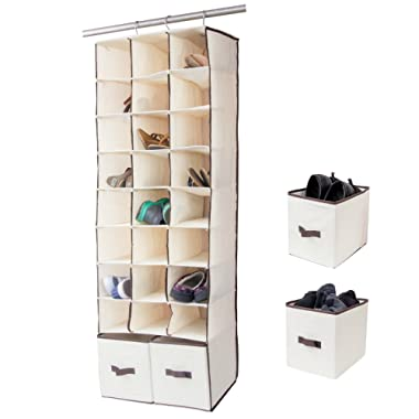 24 Slot Hanging Shoe Organizer In Closet Over Rod Shoe Caddy With Foldable Drawers Storage Bag, Space Saving Shoe Rack Holder