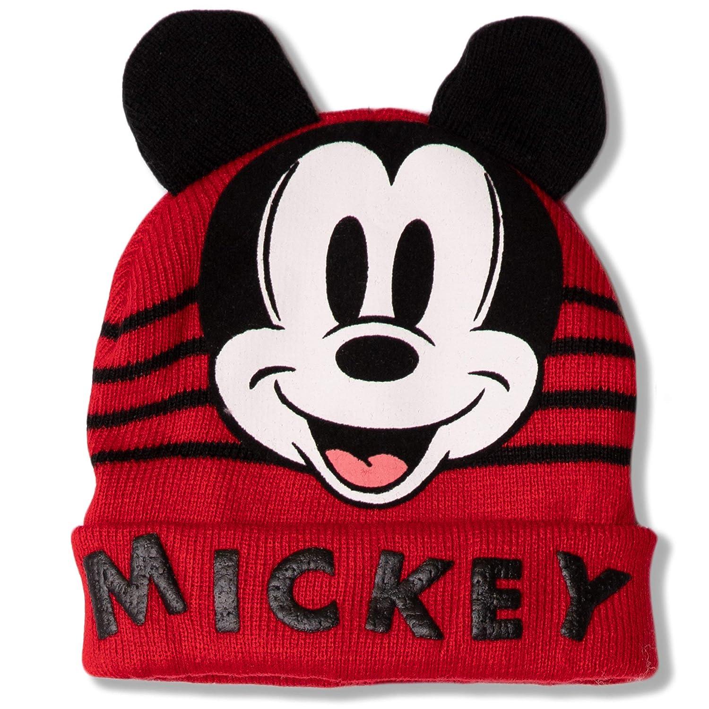 Disney Bonnet dhiver en Tricot pour b/éb/é gar/çon Fille Motif Mickey Mouse Rouge//Blanc cass/é 0-2 Ans