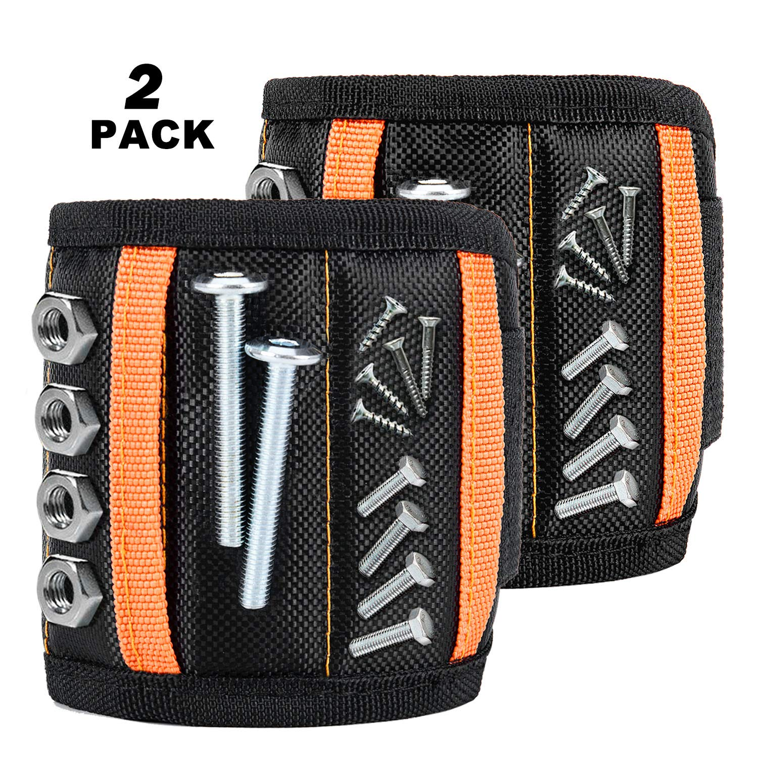 Guckmall 2 pack Magnetic Wristband with 15 Super Powerful Magnets Holds Small Metal Tools, Screws, Nails, Bolts Tightly While Working, Best Black Armband Tool for DIY Handyman