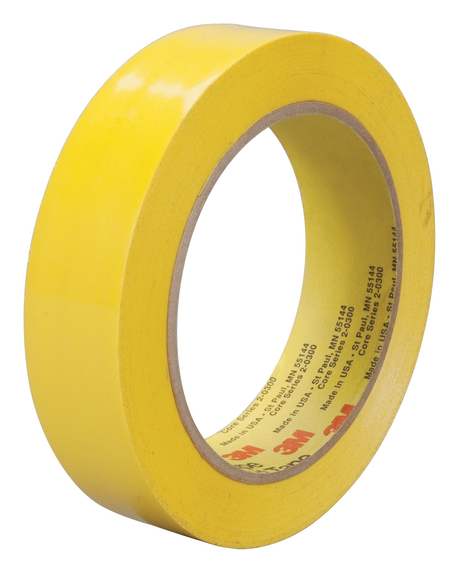 3M Polyethylene Film Tape 483 Yellow, 1 in x 36 yd 5.3 mil, Conveniently Packaged (Pack of 1)
