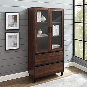 Walker Edison Furniture Company Glass Door Storage Hutch, 68 Inch, Dark Walnut