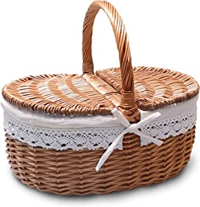 Wicker Picnic Basket with Lid and Handle Sturdy Woven Body with Washable Lining