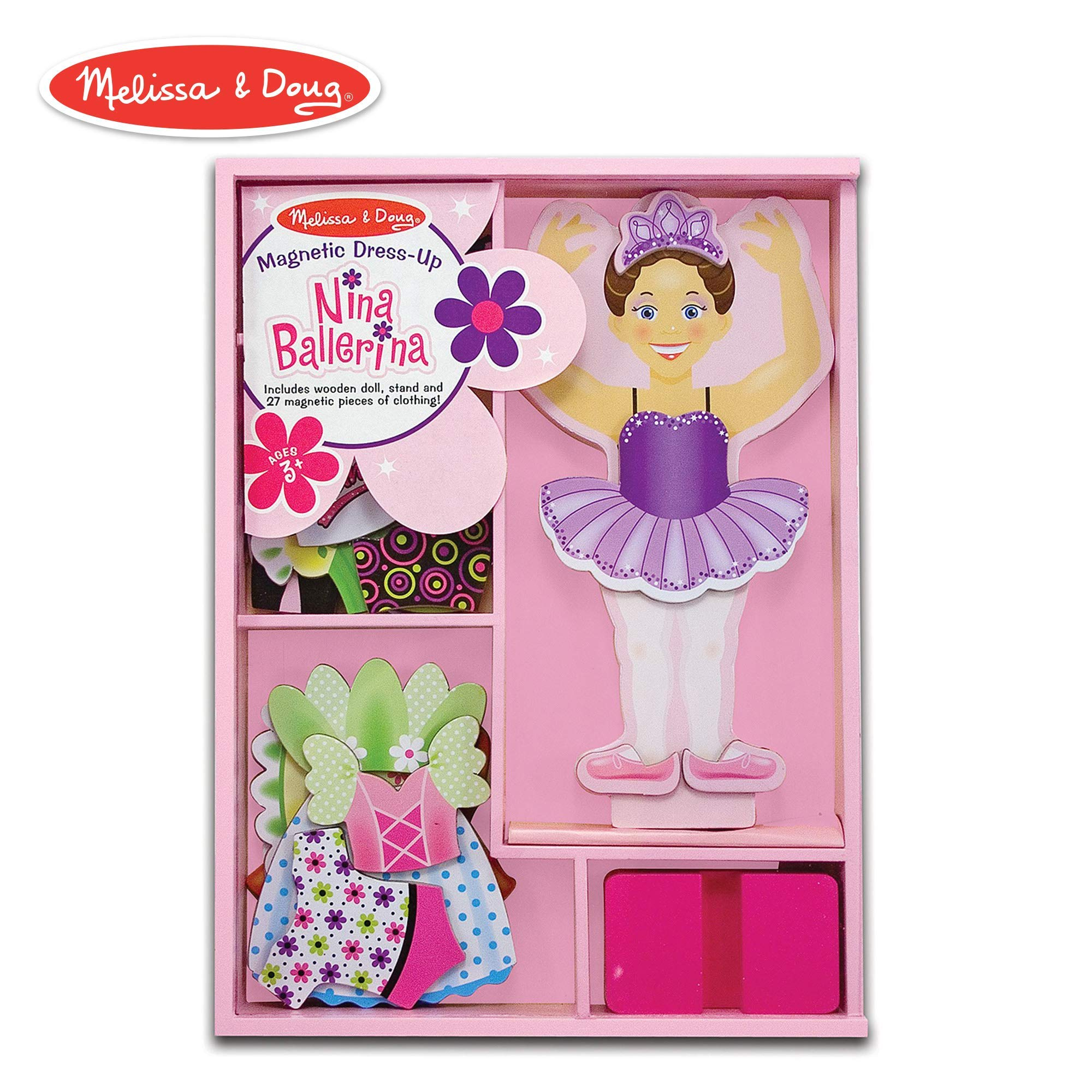 Melissa & Doug Nina Ballerina Magnetic Dress-Up Set, Pretend Play, 6 Outfits, Encourages Creativity, 27 Magnetic Pieces, 11.6'' H x 8.65'' W x 1.05'' L (Renewed) by Melissa & Doug