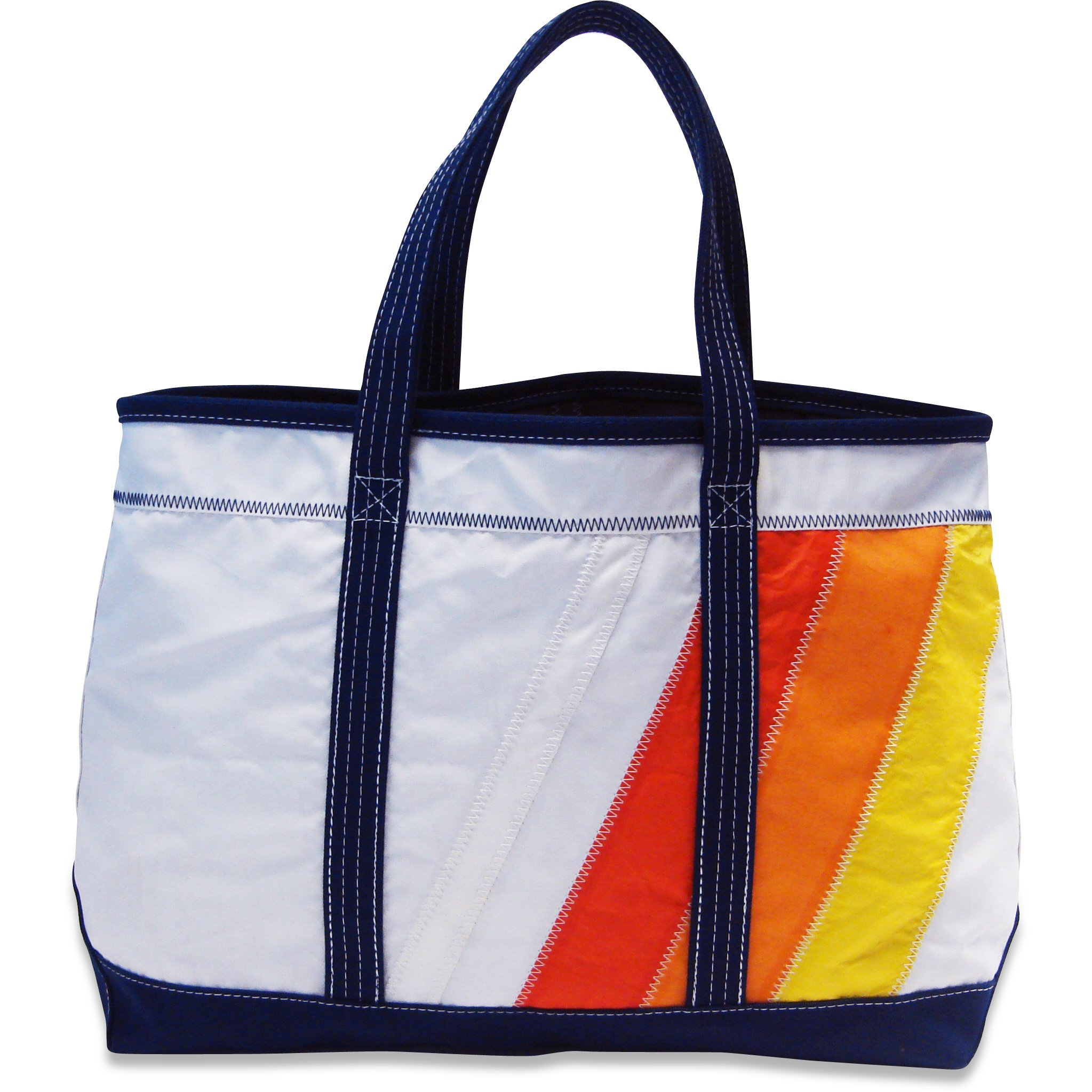 Boyd Sailcloth Shore Bag (Orange Rainbow) – Premium Handmade From 100% Recycled Water Resistant Sailboat Sails. Multipurpose Tote Bag,Duffel Bag,Travel Bag,Beach Bag,Shoulder Bag,Handbag.