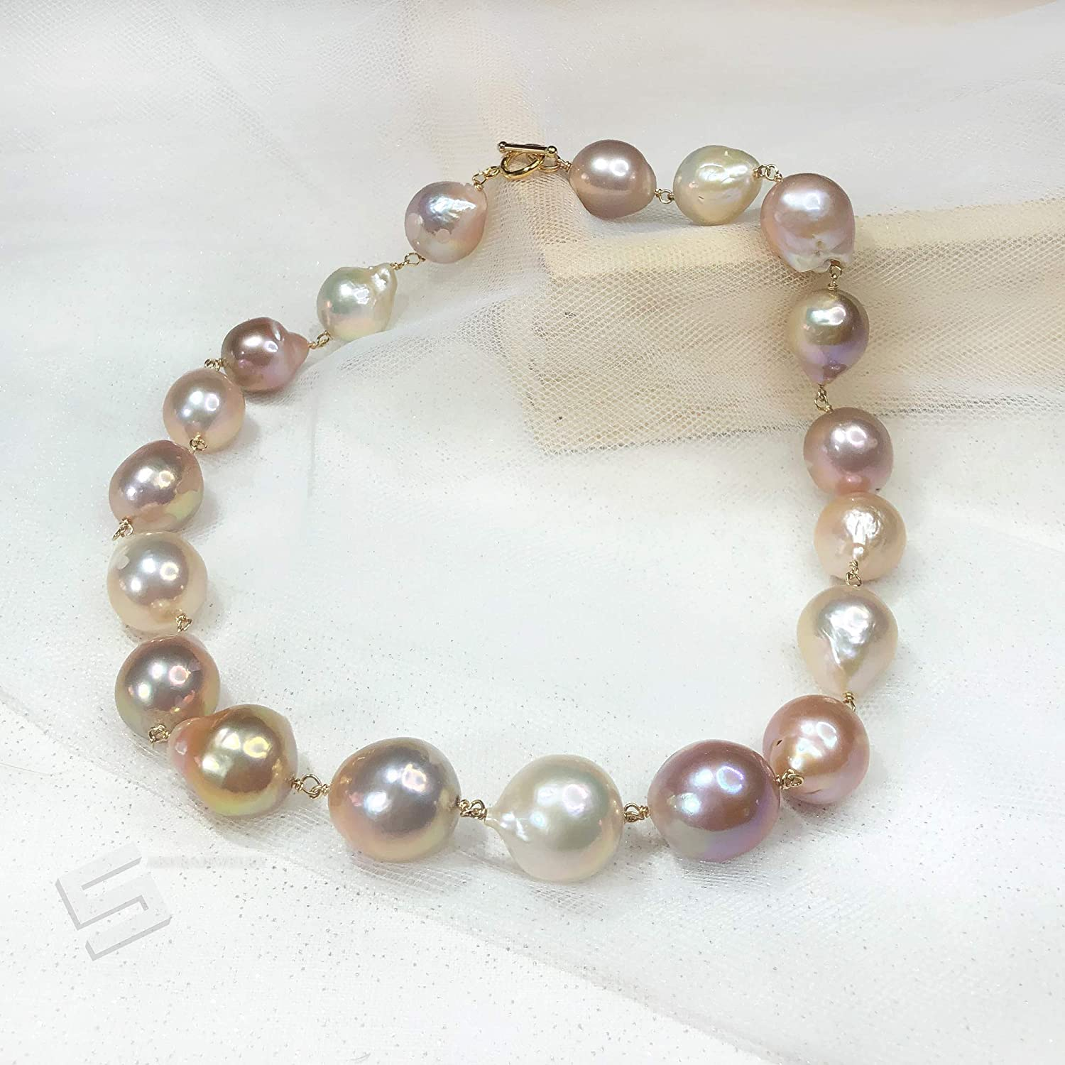 Amazon Com Large Edison Baroque Pearls Necklace 16 22mm Natural