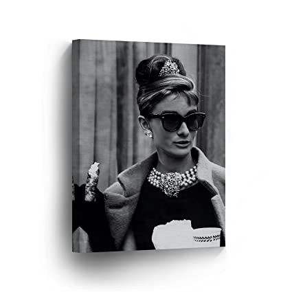 a3108822fb06 Audrey Hepburn Wall Art CANVAS PRINT Famous Style Breakfast at Tiffany's  Movie Black and White Iconic