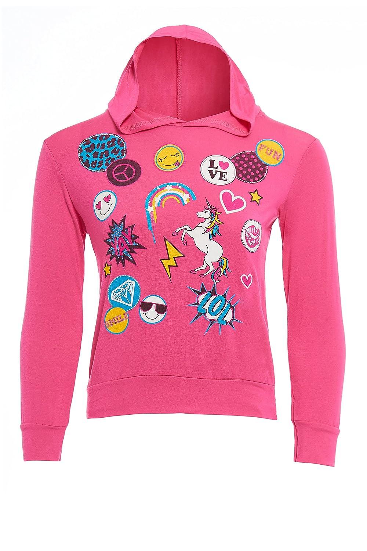 GUBA/® Girls Unicorn Emoji Smiley Fairytale Long Sleeve Summerwear Top Hoodie Size 7-13 Years