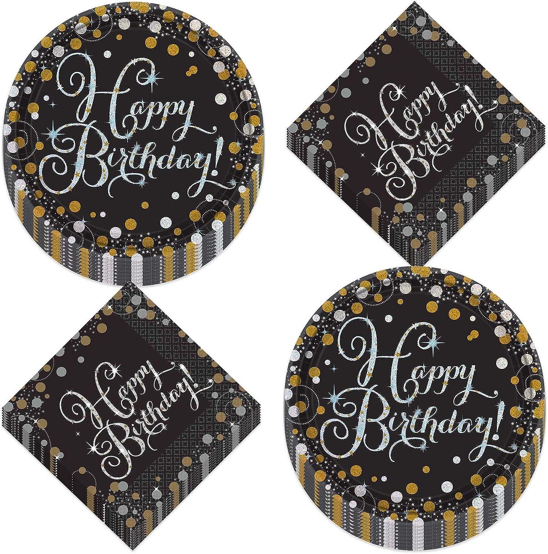 Sparkling Birthday Celebration Metallic Silver and Gold Dot Paper Dessert Plates and Beverage Napkins (Serves 16)