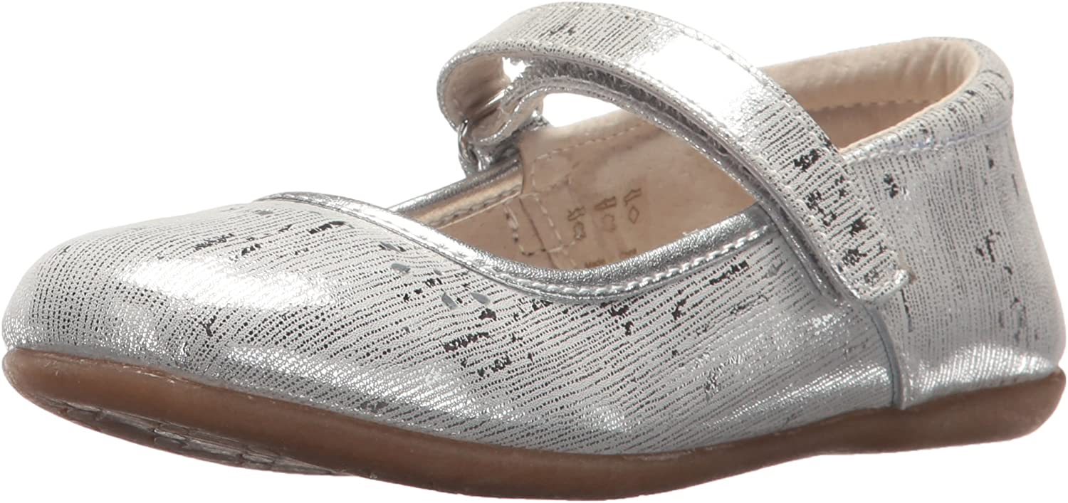 Girl/'s School Dress Classic Shoes Touch Close Mary Jane Silver Color Toddler