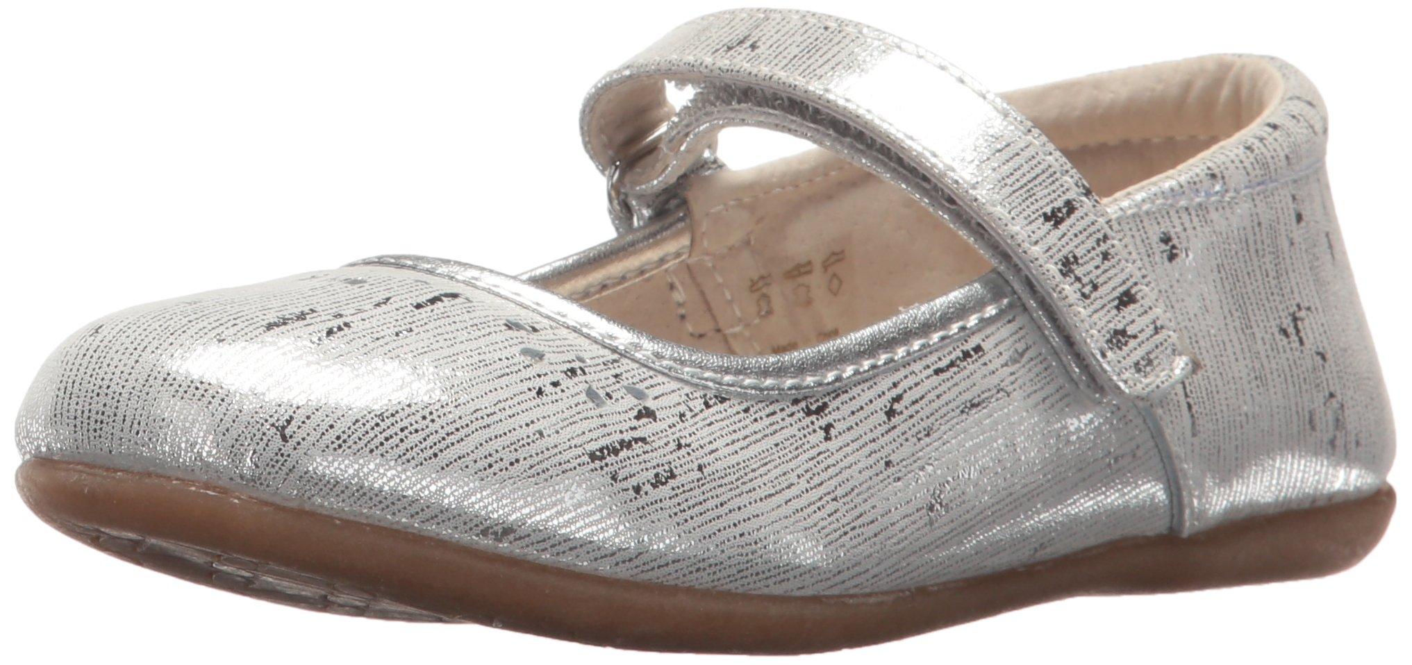 See Kai Run Girls' Ginger III Ballet Flat, Silver, 12.5 M US Little Kid