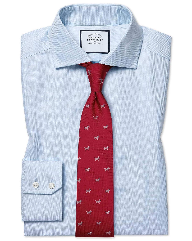 Chemise à Col Cutaway En Coton Stretch Avec Tencel Bleue Slim Fit   Bleu (Poignet Simple)   16   35