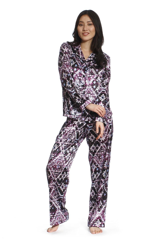 d647052043 Jones New York Women s Long Sleeve   Pant Satin Pajama Set Sleepwear Soft  Warm PJ (Set of 2) at Amazon Women s Clothing store