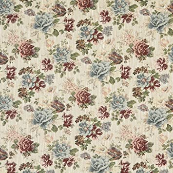 Amazon Com Burgundy And Light Blue Cream Classic Floral Tapestry