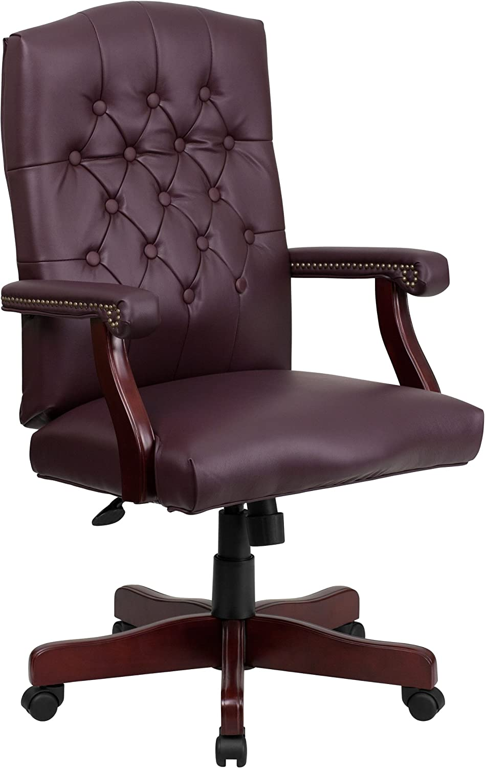 Flash Furniture Martha Washington Burgundy LeatherSoft Executive Swivel Office Chair with Arms
