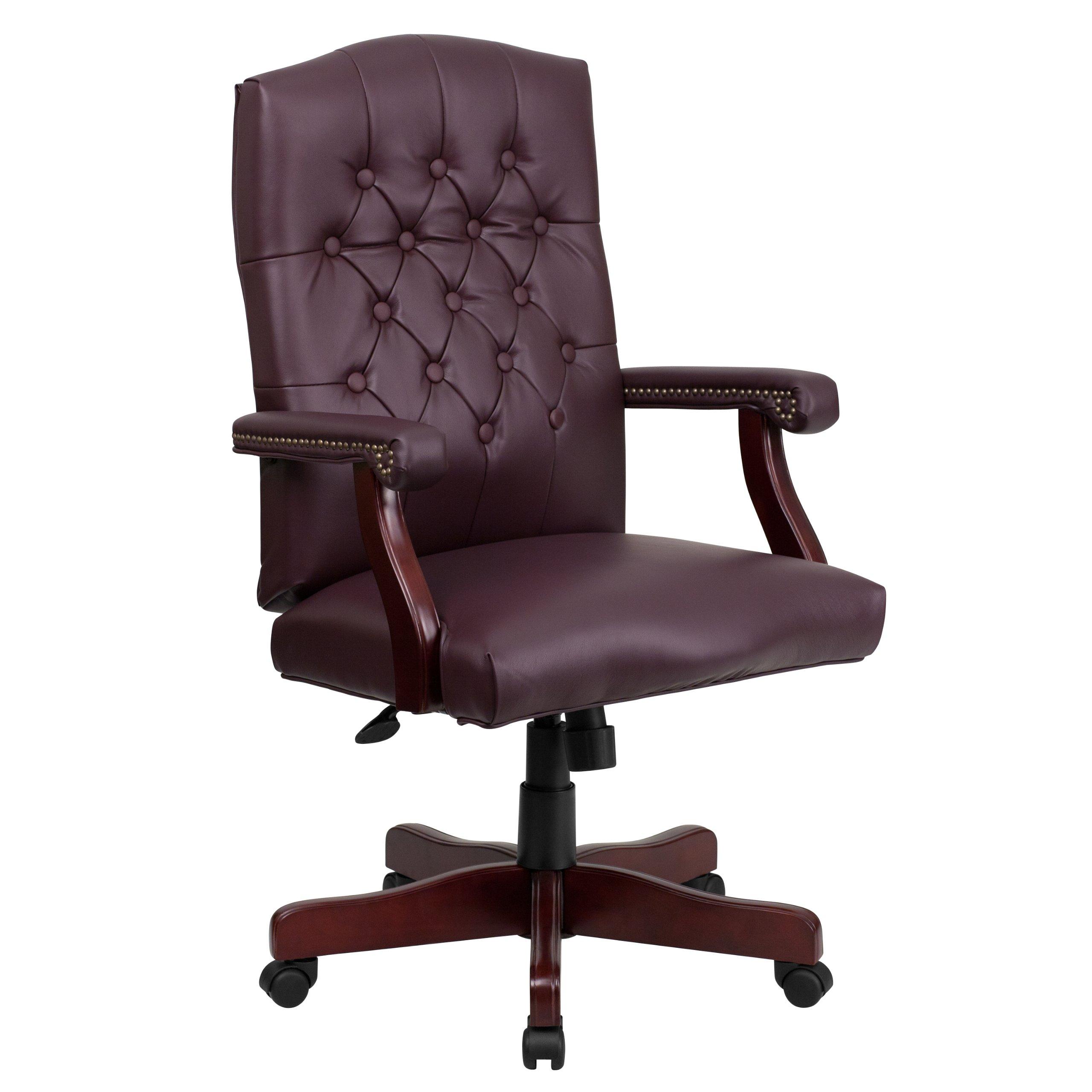 Flash Furniture Martha Washington Burgundy Leather Executive Swivel Chair with Arms