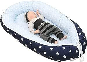 Nido para bebé de ULLENBOOM ® azul claro azul gris (nido de 55 x 95 cm de algodón; apto como cuna de viaje y para el colecho; dibujo: estrellas): Amazon.es: Bebé