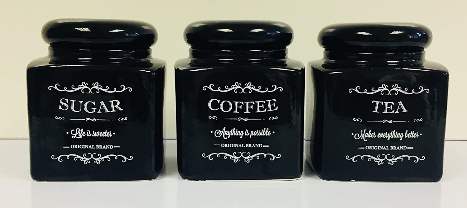 Black Traditional Tea Coffee Sugar Set Jars Canister Storage Set Of Three Porcelain Pots Crown crest
