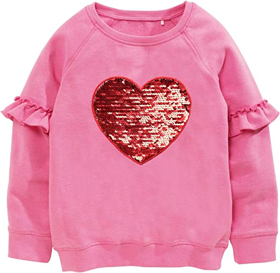 Jchen Toddler Kids Baby Girls Strawberry Print Hooded Sweatshirt Long Sleeve Casual Ruffle Pullover Tops Princess Clothes