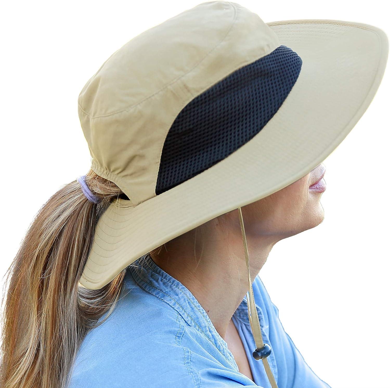 Wide Brim Sun Hat Outdoor UV Protection Safari Cap for Women