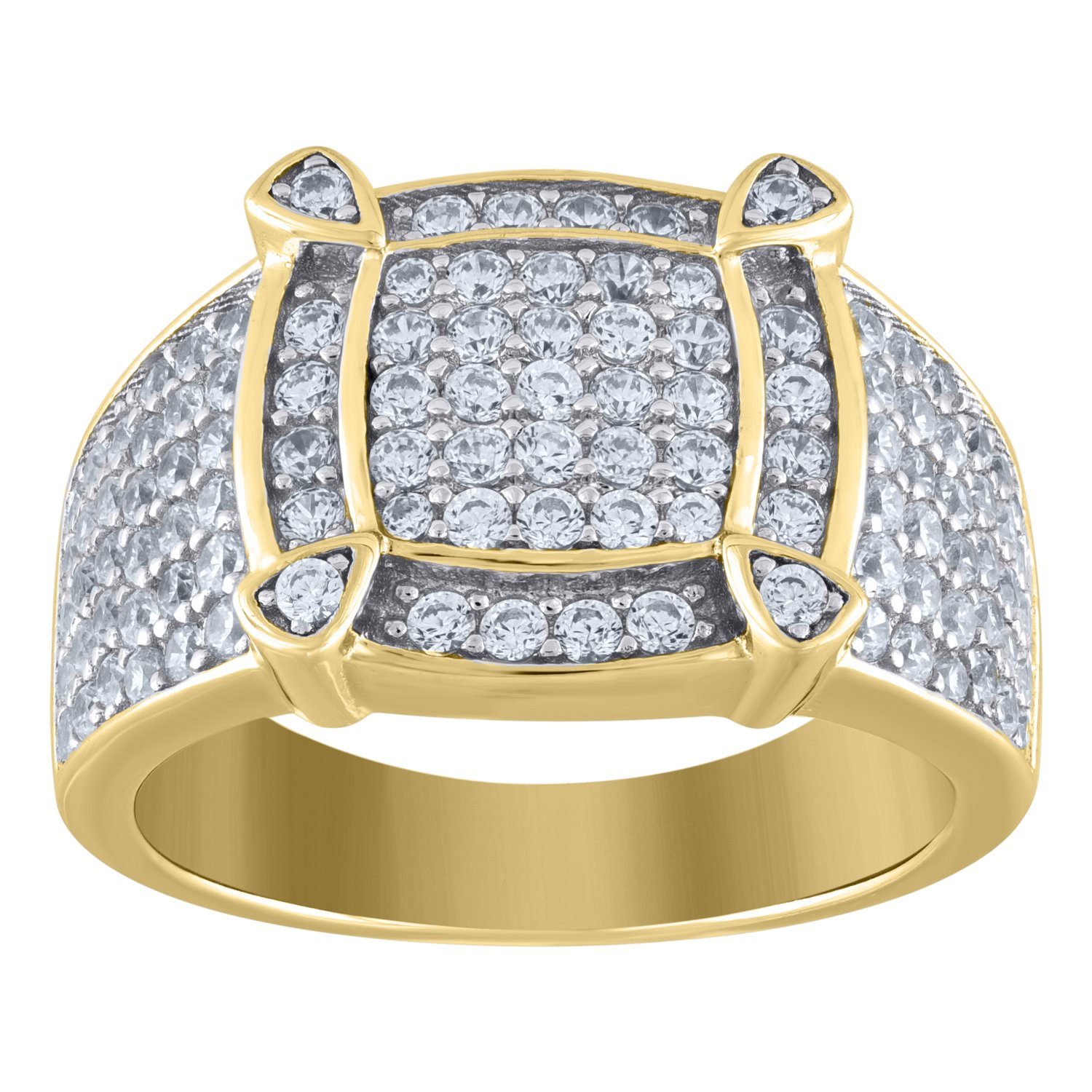 Jewels By Lux Sterling Silver Mens Round Cubic Zirconia CZ Cluster Band Fashion Ring Set With The Highest Quality Cubic Zirconia.