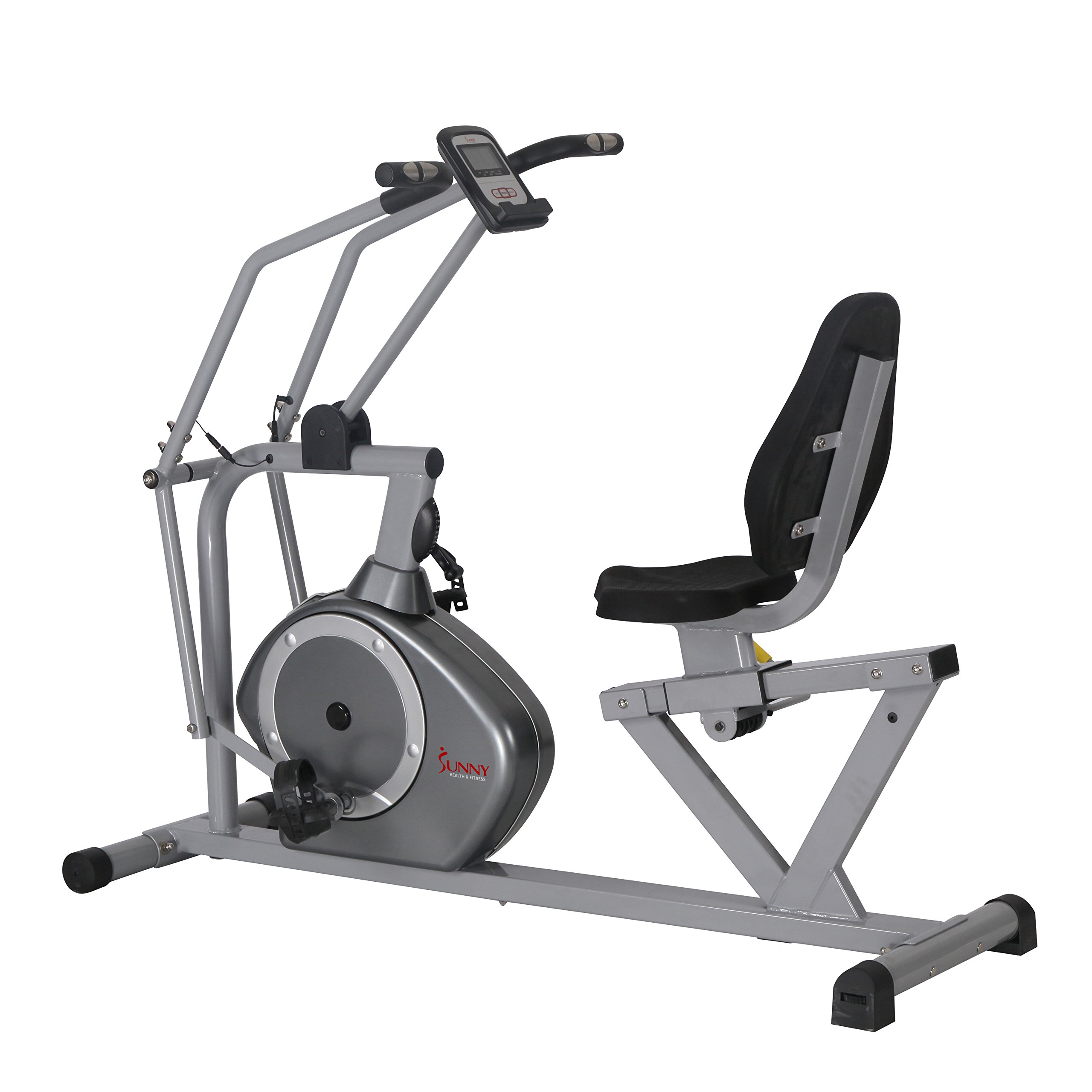 Sunny Health & Fitness Magnetic Recumbent Bike Exercise Bike, 350lb High Weight Capacity, Cross Training, Arm Exercisers, Monitor, Pulse Rate Monitoring - SF-RB4708 by Sunny Health & Fitness (Image #3)