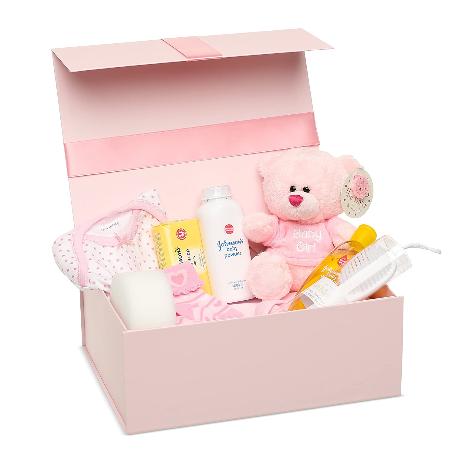 BABY BOX SHOP - Pink Keepsake Box Full of Gifts, Ideal Present for a Baby Shower