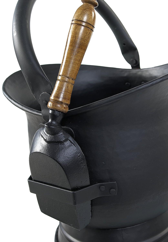 'Brindleton' Black Coal Scuttle / Bucket including Wood-Handled Shovel (Large) Black Country Metal Works