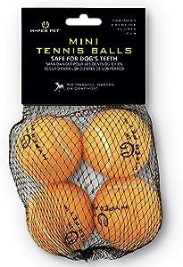 Hyper Pet Mini Tennis Balls for Dogs, Pet Safe Dog Toys for Exercise & Training, Pack of 4, Orange (0082OREA)