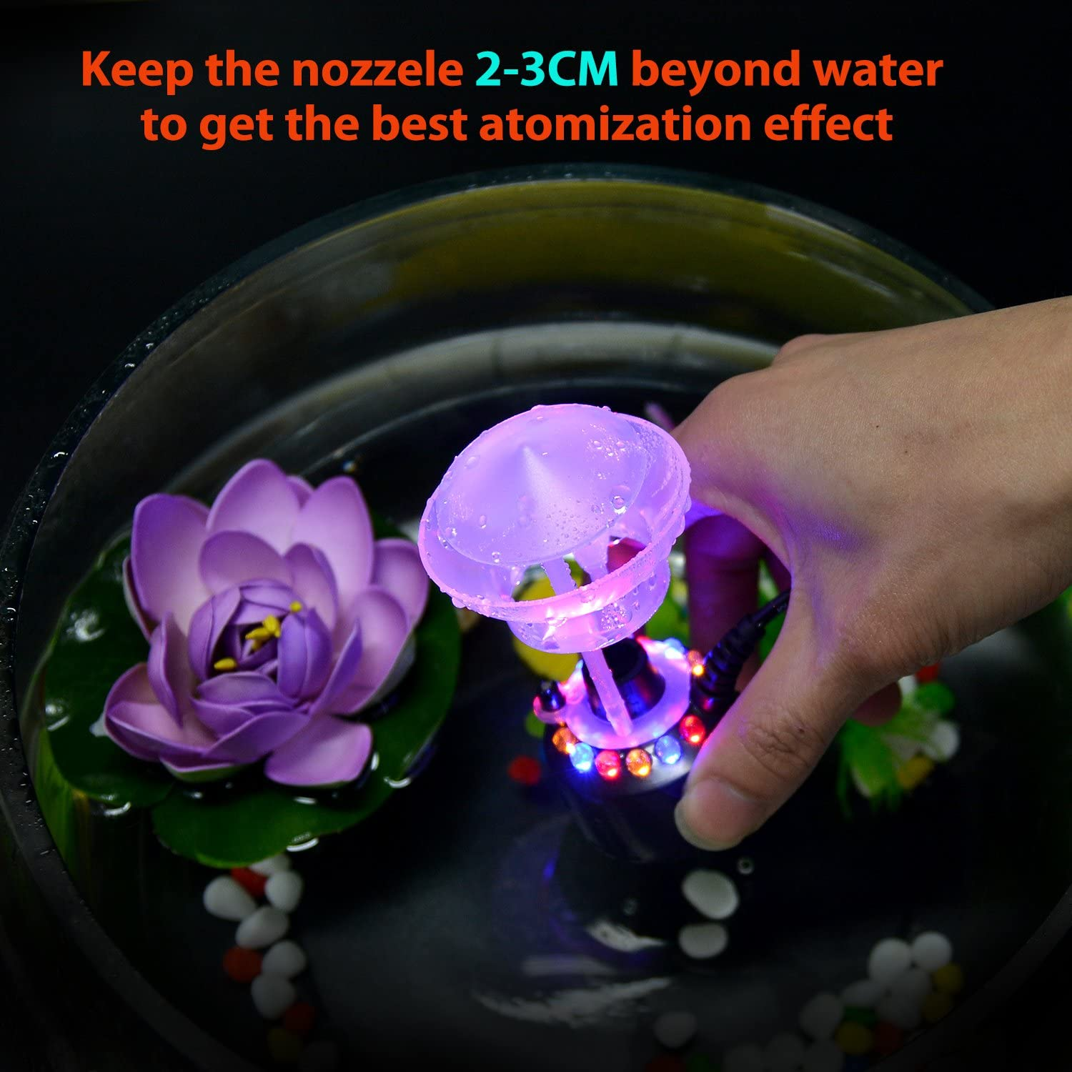 Mini Size Large Capacity of Mist,with Splash Guard Fitnate Mist Maker 12 LED Mister Fogger Water Fountain Pond Fog Machine Atomizer Air Humidifier Perfect for Halloween and Other Holidays Light Flashing with Guard