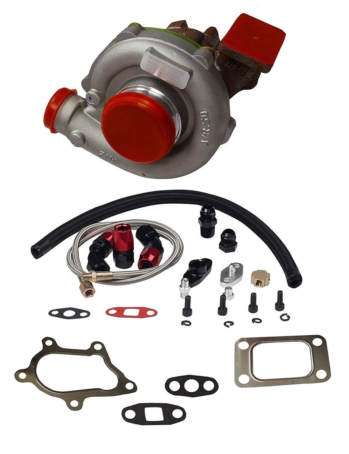 Trim Turbo Turbocharger Compressor 400 + Turbo Charger Oil Drain Return + Feed Line Kit for T04e T3/T4 A/R.63 Stage III Boost blackhorseracing