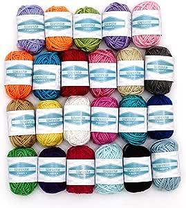 Wextile Madejas de Hilo Acrílico con 24 Colores Surtidos y