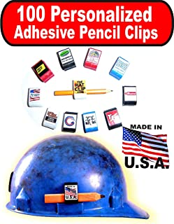 product image for 100 Personalized Hard Hat Adhesive RED Pencil Clip tools with custom imprint for company advertising, group outings, gifts or giveaways