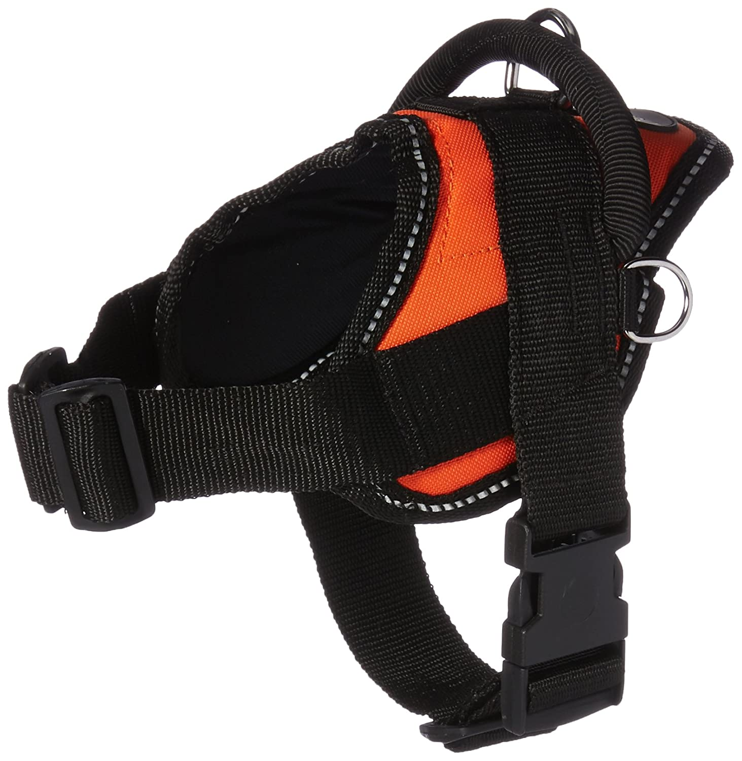 Dean & Tyler XX-Small orange Harness with Reflective Trim and Padded Puppy Leash Black Padding