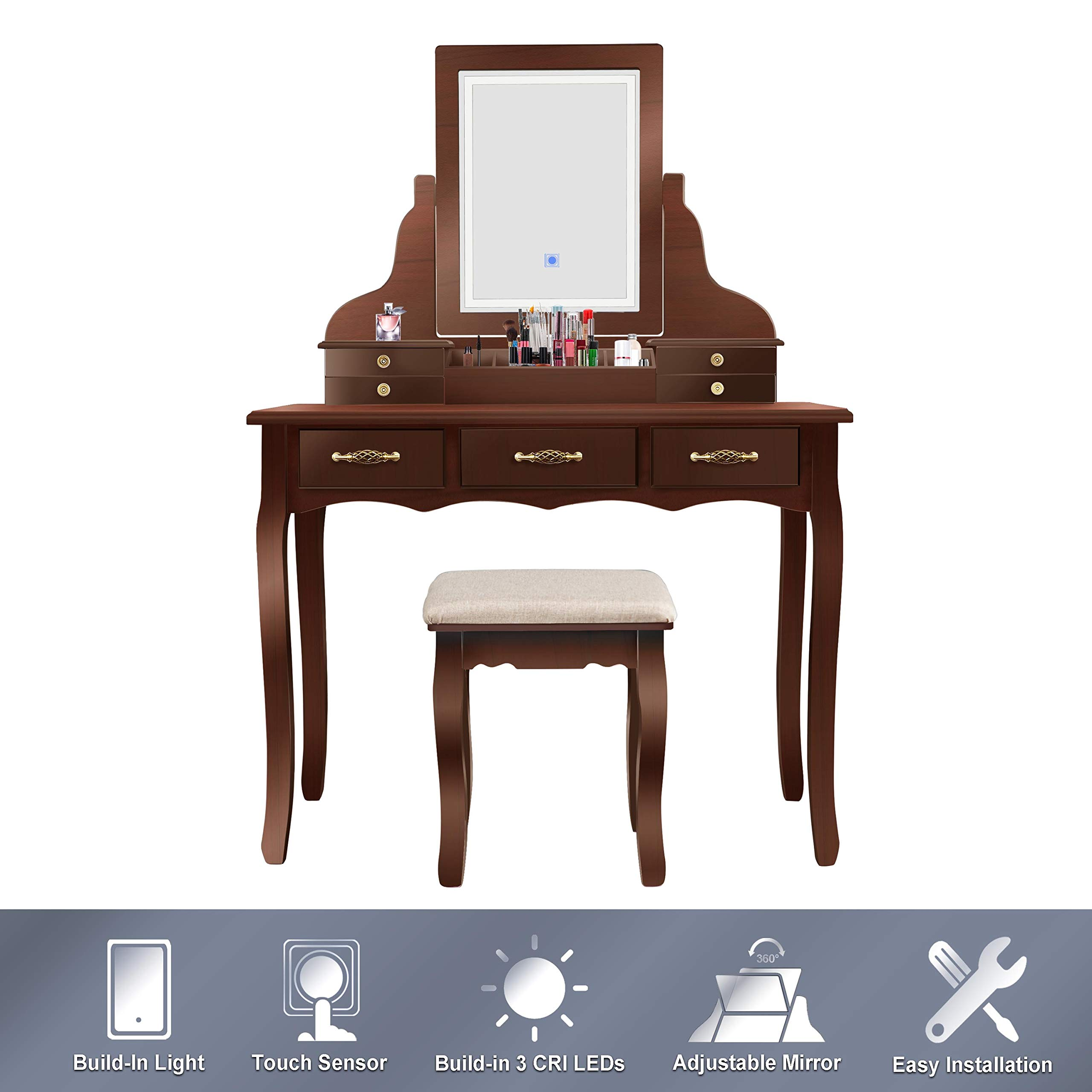ENSTVER Led Vanity Beauty Station,7 Drawers Makeup Dressing Table with Cushioned Stool Set-Espresso by ENSTVER