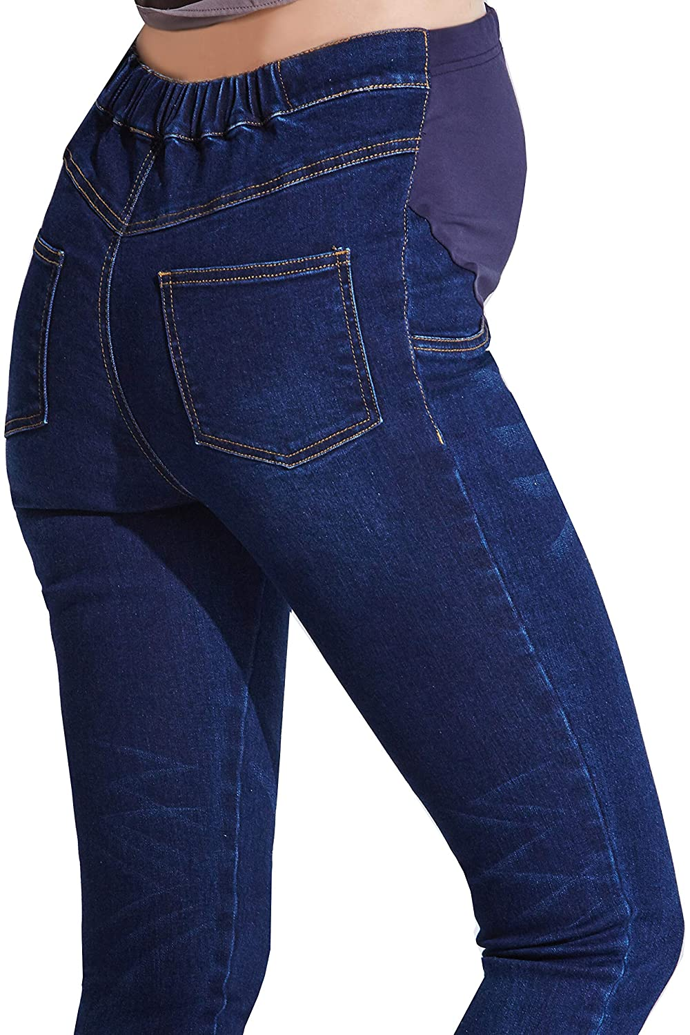 Sweet Mommy Maternity Super Stretch Vintage Denim Skinny Womens Jeans Ankle Length Blue LL