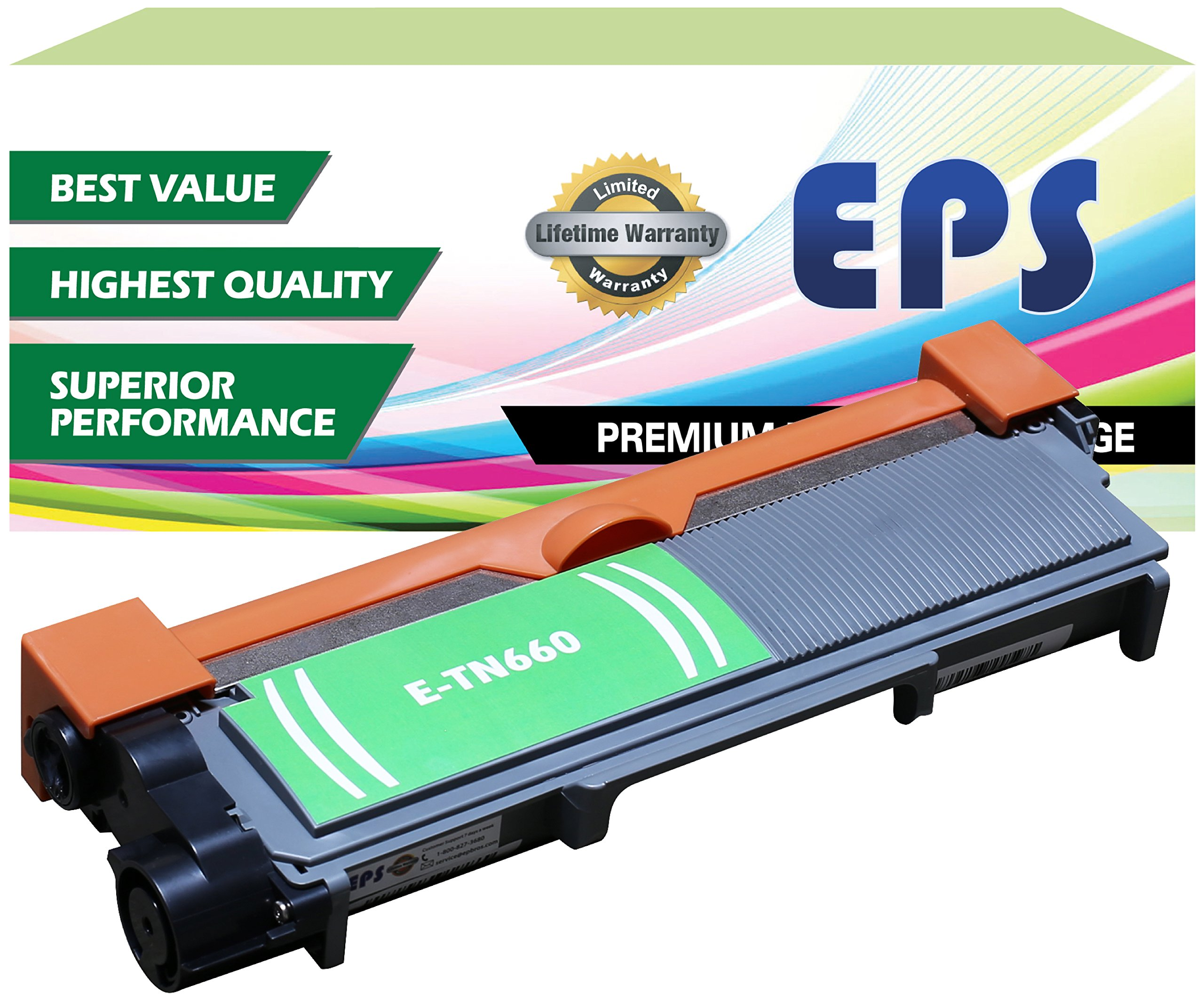EPS Compatible Replacement Toner Cartridge for Brother TN660 TN630, High Yield (2,600 Yield) - Black