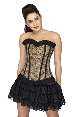 04608849926 Cotton Lily Print Black Frill Gothic Burlesque Overbust Satin Net Corset  Dress  Amazon.co.uk  Clothing