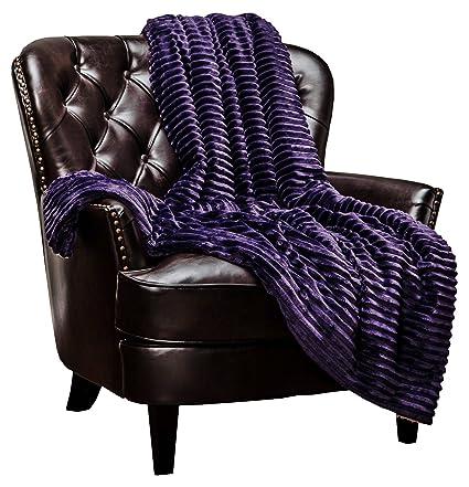 Chanasya Super Soft Ultra Plush Solid Stripe Textured Bright Purple Aubergine  Sofa Couch Bed Microfiber Throw