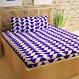 Story@Home 100% Cotton Bed Sheet for Double Bed with 2 Pillow Covers Set, Candy Queen Size Bedsheet Series, 120 TC, Geometric Triangles Pattern, Blue