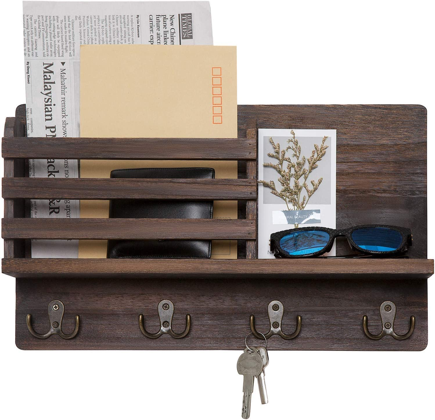 Amazon Com Dahey Wall Mounted Mail Holder Wooden Mail Sorter Organizer With 4 Double Key Hooks And A Floating Shelf Rustic Home Decor For Entryway Or Mudroom Brown Home Improvement