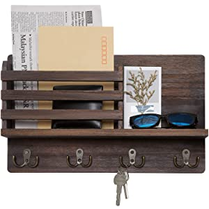 Dahey Wall Mounted Mail Holder Wooden Mail Sorter Organizer with 4 Double Key Hooks and A Floating Shelf Rustic Home Decor for Entryway or Mudroom,Brown